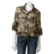 About A Girl Camo Tie-Front Hi-Low Top - Juniors