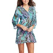 One World Scroll Animal Chiffon Cover-Up Tunic