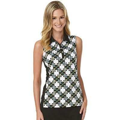 Grand Slam Plaid Sleeveless Performance Polo