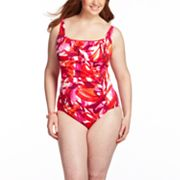 Croft and Barrow Brushstroke Ruched One-Piece Swimsuit - Women's Plus