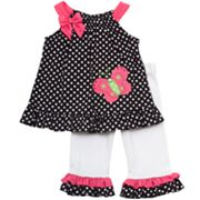 Rare Editions Butterfly and Polka-Dot Top and Leggings Set - Baby