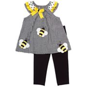 Rare Editions Checkered Bumblebee Top and Leggings Set - Baby