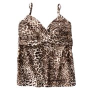 Dana Buchman Cheetah Underwire Tankini Top - Women's Plus