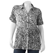 Sag Harbor Leaf Crinkled Shirt - Women's Plus