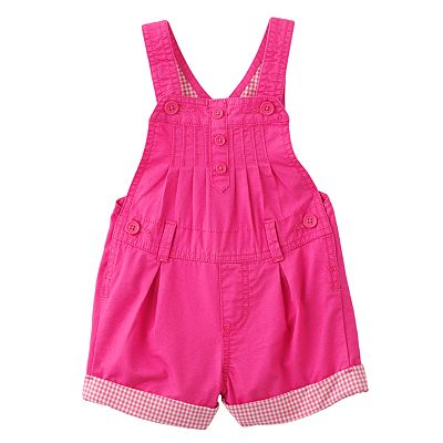 OshKosh B'gosh Checked Cuffed Twill Shortalls - Baby
