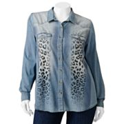 FANG Cheetah Denim Button-Front Top - Juniors' Plus