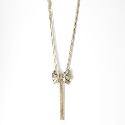 Simply Vera Vera Wang Gold Tone Simulated Crystal Bow and Fringe Multistrand Y Necklace