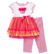 Youngland Cupcake Dress and Striped Leggings Set - Infant