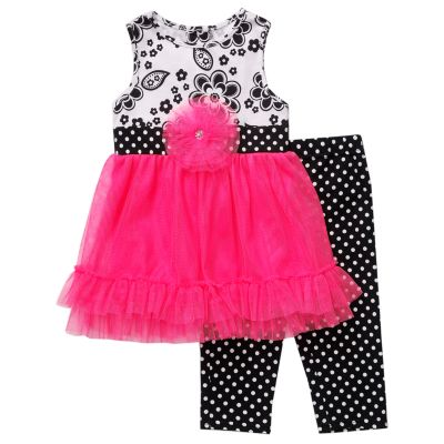 Youngland Floral Dress and Dot Leggings Set - Baby