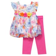 Youngland Floral Bubble Dress and Leggings Set - Infant