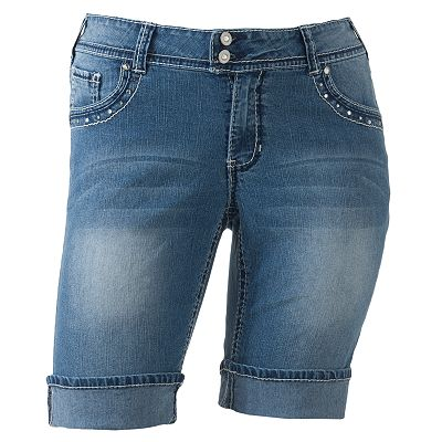 Angels Rinestone Cuffed Denim Bermuda Shorts - Juniors' Plus