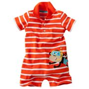 Carter's Striped Monkey Polo Romper - Baby