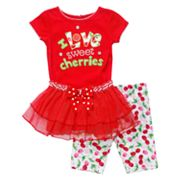 Youngland I Love Sweet Cherries Tutu Set - Infant
