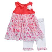 Youngland Crochet Dot Dress and Leggings Set - Infant