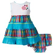 Youngland Plaid Tiered Seersucker Sundress - Baby
