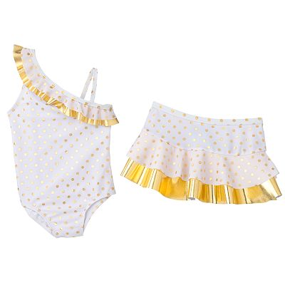 Baby Bunz Polka-Dot Asymmetrical One-Piece Swimsuit and Cover-Up Skirt Set - Baby