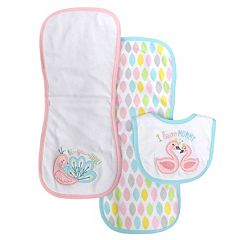 Baby Treasures 3 pc Bib & Burp Cloth Set