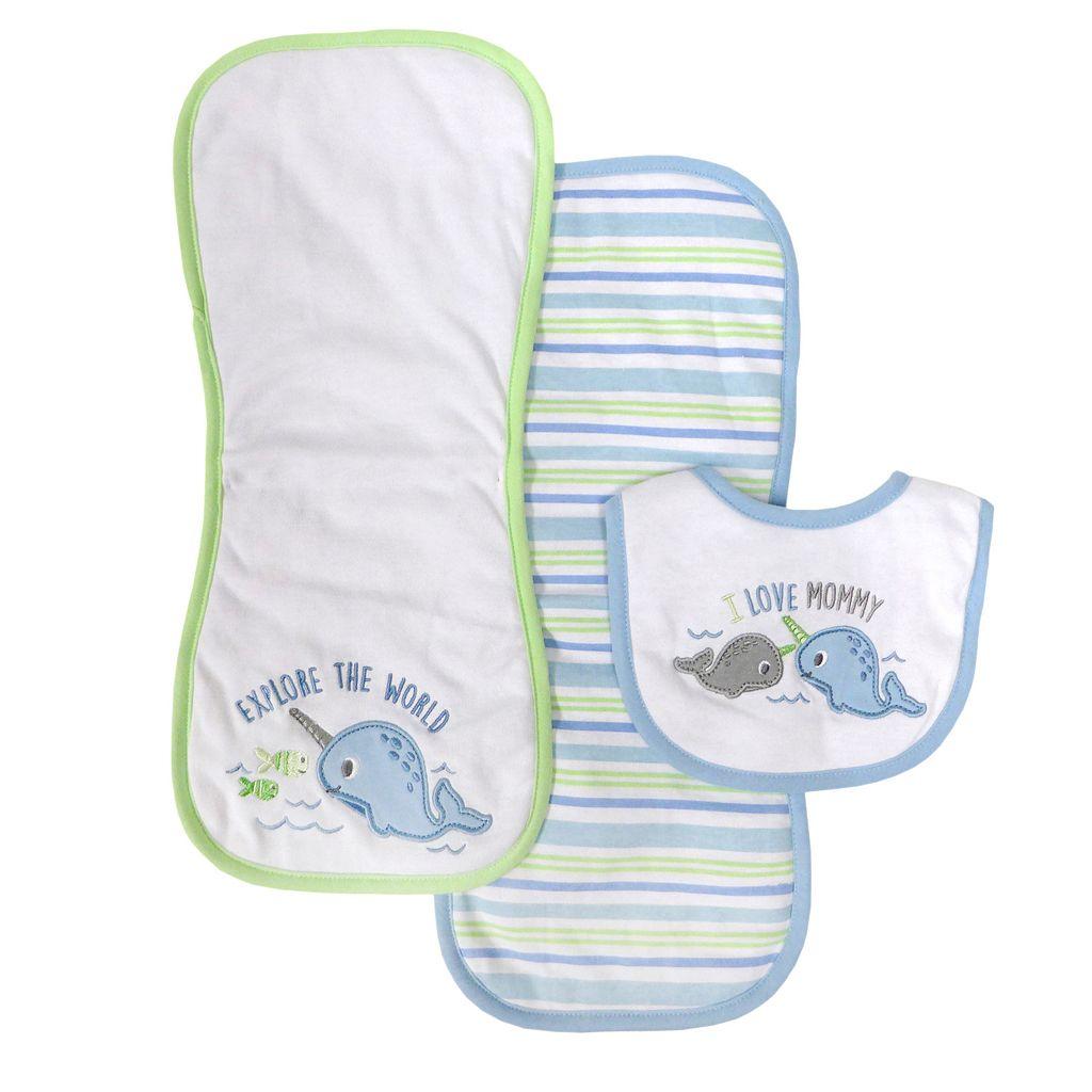 Baby Treasures 3-Piece Bib & Burp Cloth Set