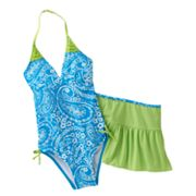 Malibu Dream Girl Paisley 2-pc. One-Piece Swimsuit and Cover-Up Skirt Set - Girls Plus