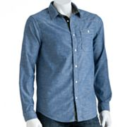 Helix Chambray Woven Button-Down Shirt - Men
