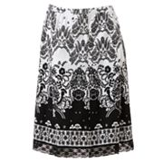 Sag Harbor Floral Crochet-Trim Crinkled Skirt - Petite