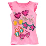 SONOMA life + style Sunglasses Flutter Sleeve Top - Girls 4-7