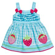 Youngland Strawberry Seersucker Sundress - Infant