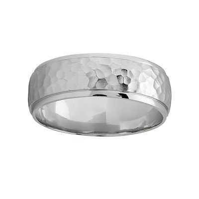 14k White Gold Hammered Band - Men