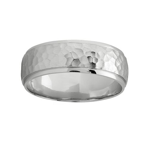 14K White Gold Hammered Band Ring - Men