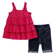 Youngland Tiered Dress and Jegging Shorts Set - Infant