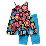 Youngland Floral Asymmetrical Dress and Dot Leggings Set - Infant