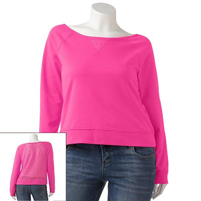 SO Lace Back Sweatshirt - Juniors' Plus