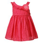Youngland Floral Embroidered Asymmetrical Dress - Infant