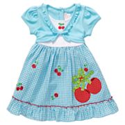 Youngland Mock-Layer Cherry Seersucker Dress - Toddler