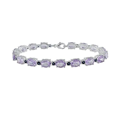 Sterling Silver Amethyst and Sapphire Bracelet