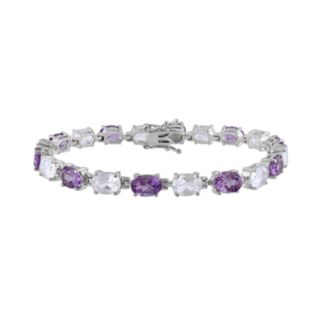 Sterling Silver Amethyst and Lab-Created White Sapphire Bracelet