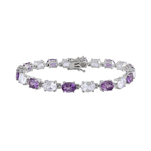 Sterling Silver Amethyst & Lab-Created White Sapphire Bracelet