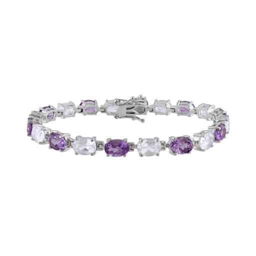 Stella Grace Sterling Silver Amethyst and Lab-Created White Sapphire Bracelet