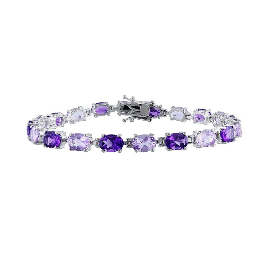 Sterling Silver Amethyst & Rose de France Bracelet