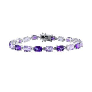 Sterling Silver Amethyst and Rose de France Bracelet