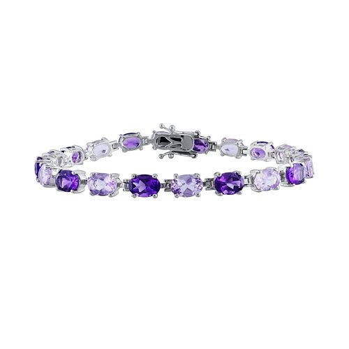 Stella Grace Sterling Silver Amethyst and Rose de France Bracelet