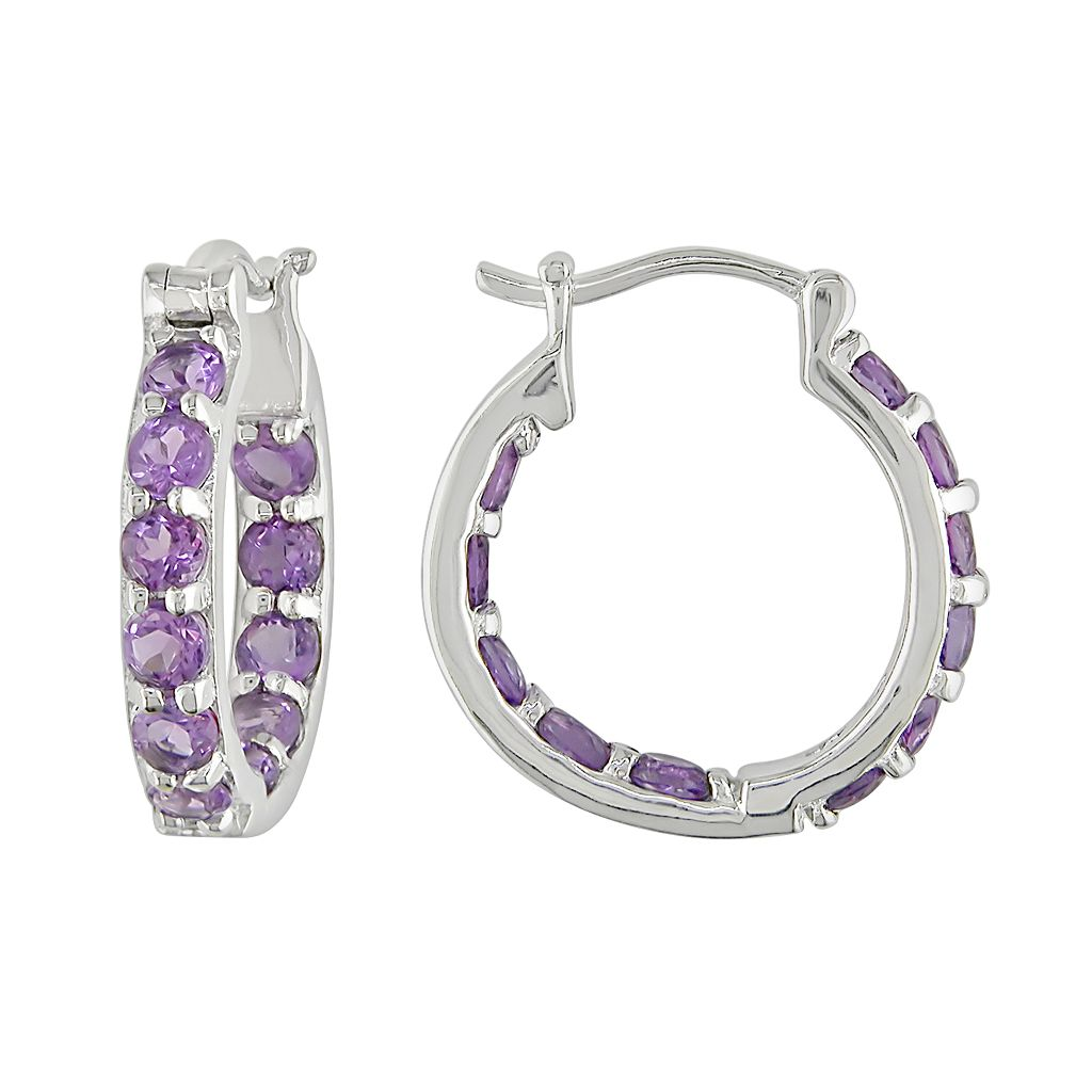 Sterling Silver Amethyst Hoop Earrings