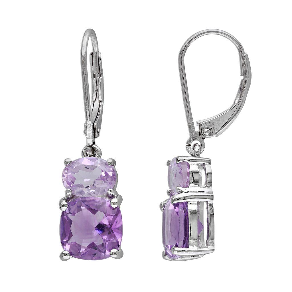 Sterling Silver Amethyst & Rose de France Drop Earrings
