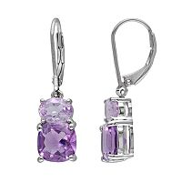 Sterling Silver Amethyst & Rose de France Drop Earrings