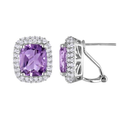 Sterling Silver Amethyst and Lab-Created White Sapphire Stud Earrings