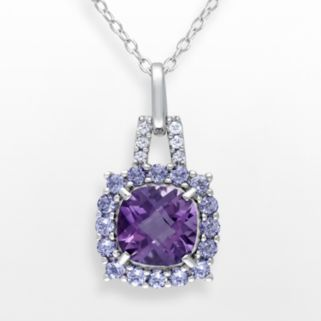 Sterling Silver Amethyst, Tanzanite and Diamond Accent Frame Pendant