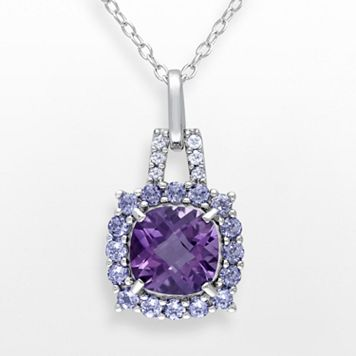 Sterling Silver Amethyst, Tanzanite & Diamond Accent Frame Pendant
