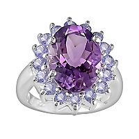 Sterling Silver Amethyst & Tanzanite Oval Frame Ring