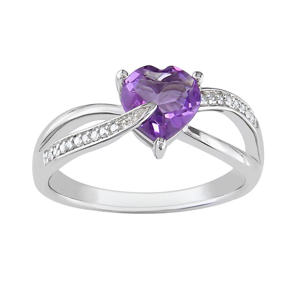 Sterling Silver Amethyst & Diamond Accent Crisscross Heart Ring