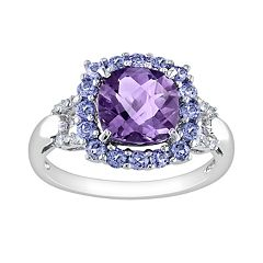Stella Grace Sterling Silver Amethyst, Tanzanite and Diamond Accent Frame Ring